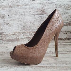 🔵Jennifer Lopez Tsn Croc Peep Toe Heel